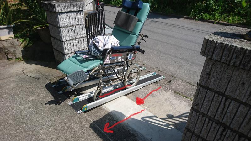 車椅子・後輪と前輪の長さ。 段差の幅にご注目。