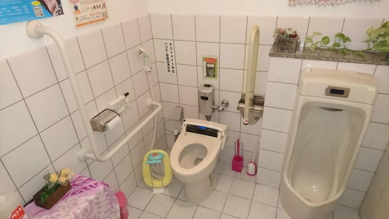 手すり・自動センサーの水洗トイレはありがたい。